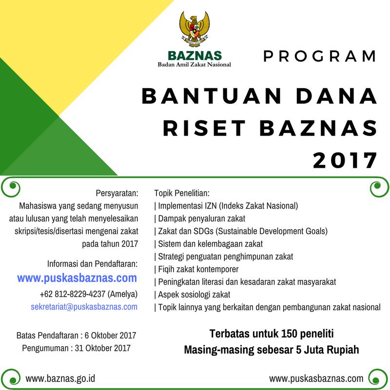 Program Bantuan Dana Riset Baznas 2017